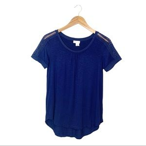 Anthro | Meadow Rue Blue Lace Trimmed Tee Size S